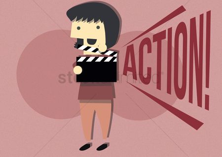 Production : Lady holding clapboard