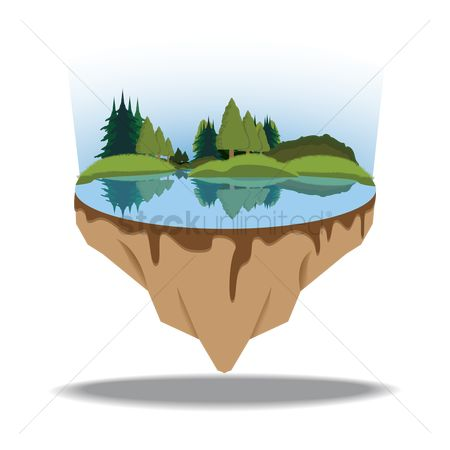 Sceneries : Lake on a floating island