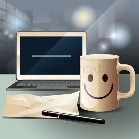 Cup : Laptop and mug on work desk