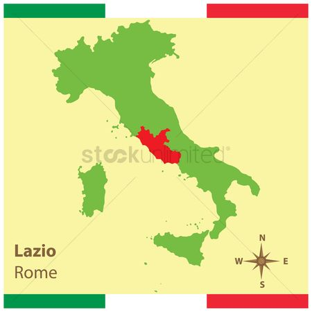 Highlights : Lazio on italy map