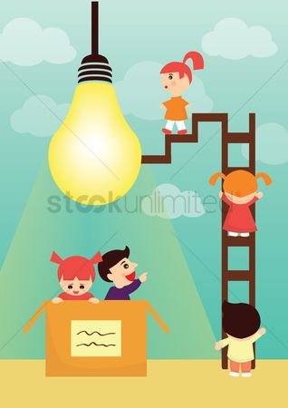 Play kids : Lightbulb concept - kids exploring ideas