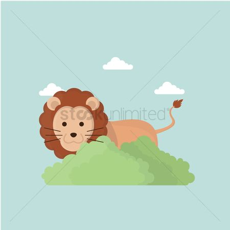 Save trees : Lion in its habitat