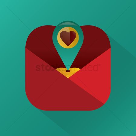 Heart : Location indicator with heart in an envelope