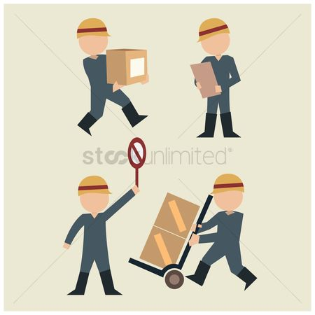 Hand truck : Logistic workers in action
