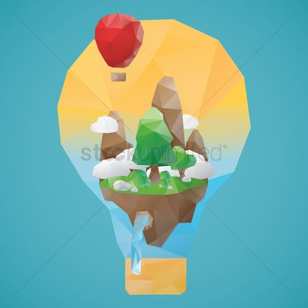 Waterfalls : Low poly of hot air balloon  and mountainscape
