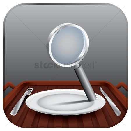 Serve : Magnifying glass on a plate