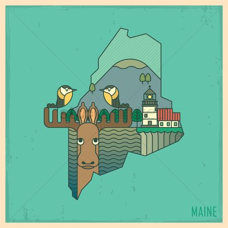 United states : Maine state map