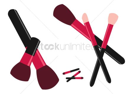Cosmetic : Make up brushes on white background