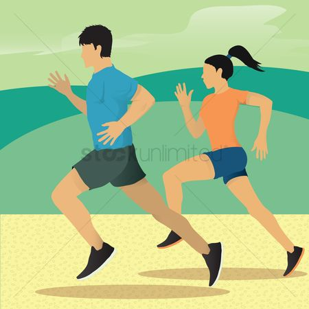 Lady : Man and woman running