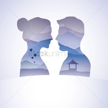 Hills : Man and woman with double exposure effect