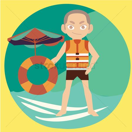 Lifebuoy : Man at beach