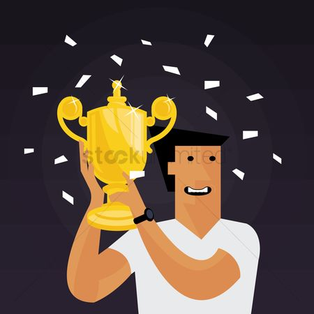 Cheering : Man holding a trophy and cheering