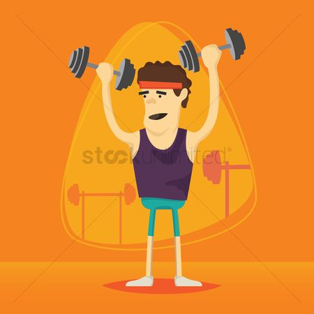 Strength exercise : Man lifting dumbbells