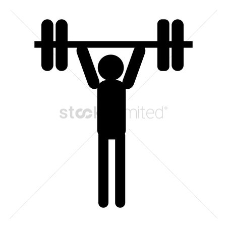 Strength exercise : Man lifting up a barbell