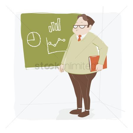 Teaching : Man standing at the blackboard