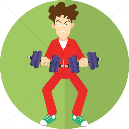 Strength exercise : Man with dumbbells
