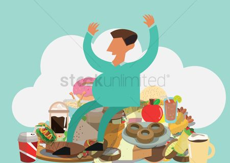 Junk food : Man with food items
