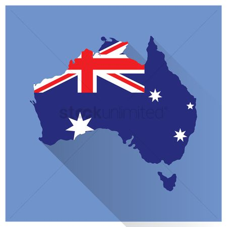 Cartography : Map and flag of australia