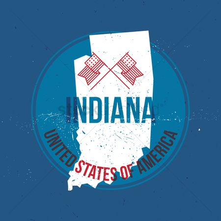 Indiana : Map of indiana state label