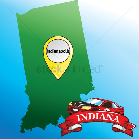 Indiana : Map of indiana state with car