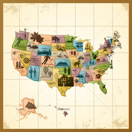 Monuments : Map of usa with states