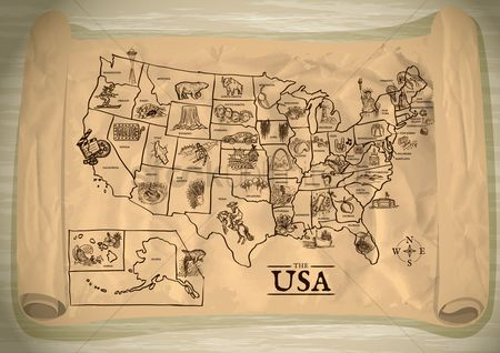 Cream : Map of usa