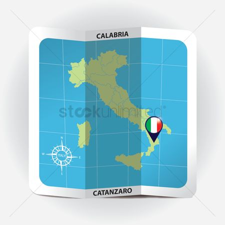 Highlights : Map pointer indicating calabria on italy map