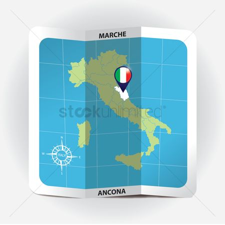 Highlights : Map pointer indicating marche on italy map