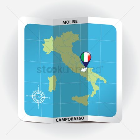 Highlights : Map pointer indicating molise on italy map