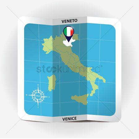 Highlights : Map pointer indicating veneto on italy map