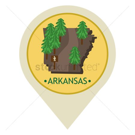 Arkansas : Map pointer with arkansas state
