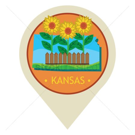 Kansas : Map pointer with kansas state