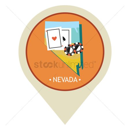 Poker chips : Map pointer with nevada state