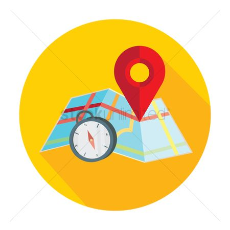 Map pin : Map with pin pointer and direction compass