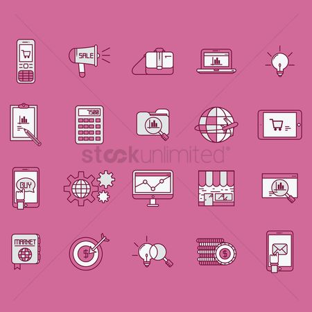Magnifying : Marketing icons collection