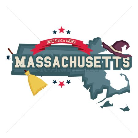 Broom : Massachusetts map with with hat and broom