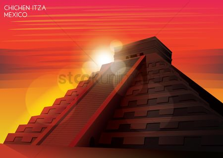 Sunray : Mayan pyramid wallpaper