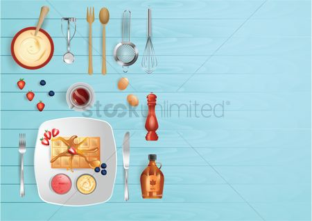 Dishes : Meal preparation flat lay design