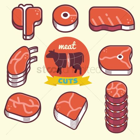 Cow : Meat cut icons and diagram