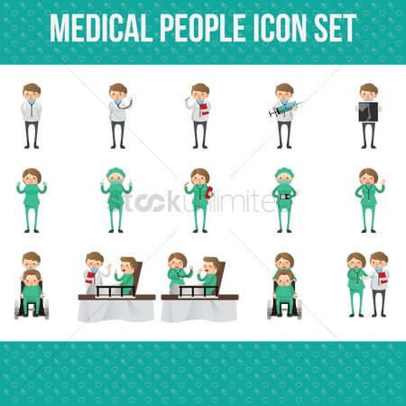 Wheelchair : Medical people icon set