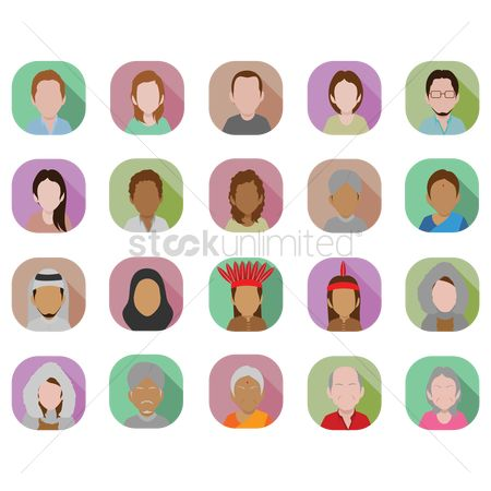 Race : Men and women avatar set