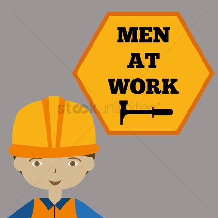 Contractor : Men at work sign with architect