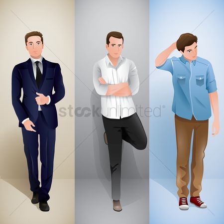 Fashions : Men in different outfit