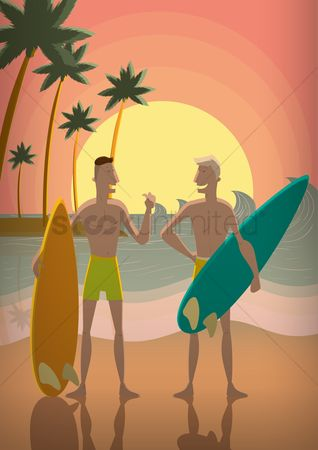 Dialogue : Men with surfboards