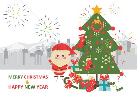Santa : Merry christmas and happy new year card design