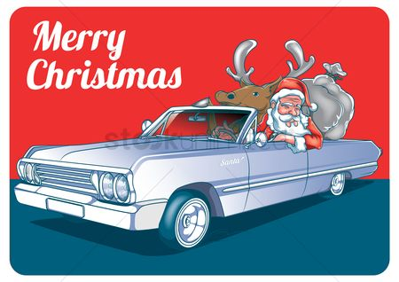 Santa : Merry christmas design with santa s car
