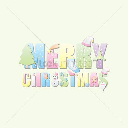 Typographics : Merry christmas lettering design