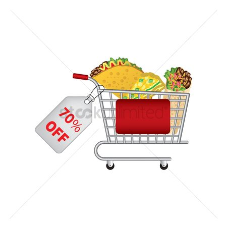 Food cart : Mexican food promotion inside a shopping cart