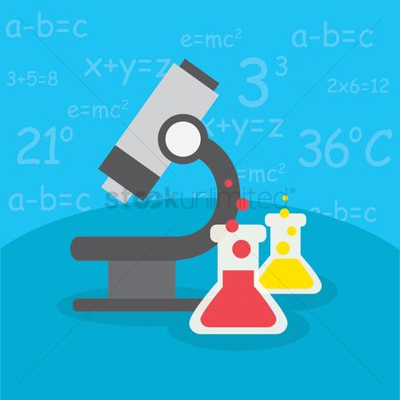 Physic : Microscope and beakers