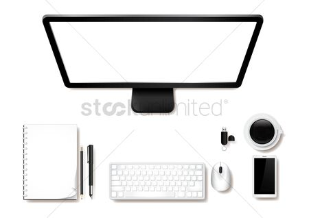 Phones : Minimalist table workspace